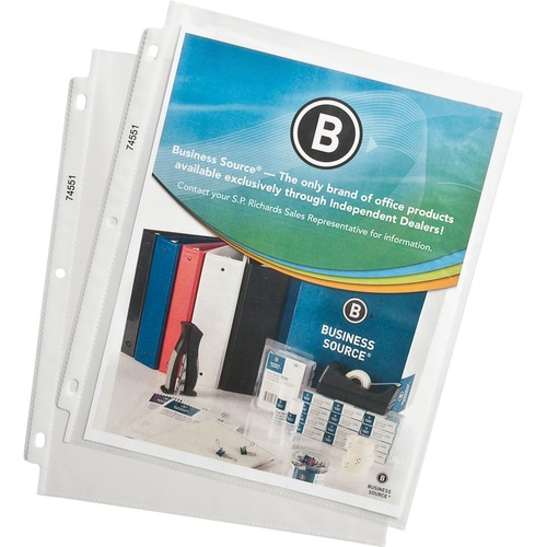 """Business Source Top-Loading Poly Sheet Protectors - 11"""" Height x 9"""" Width - 0"""" Thickness - For Letter 8 1/2"""" x 11"""" Sheet - Ring Binder - Rectangular - Clear - Polypropylene - 100 / Box"""