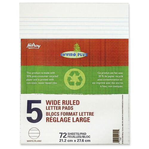 """Hilroy EnviroPlus Figuring Pad - 72 Sheets - 0.31"""" Ruled - 15 lb Basis Weight - 8 3/8"""" x 10 7/8"""" - White Paper - Stiff-back - Recycled - 5 / Pack"""