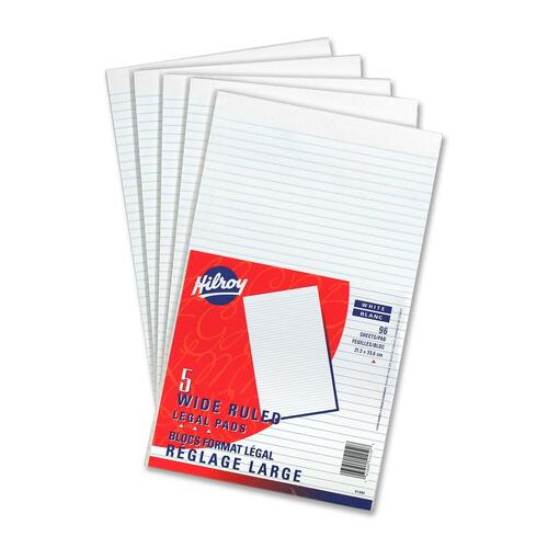 """Hilroy Figuring Pad - 96 Sheets - 0.31"""" Ruled - 8 3/8"""" x 14"""" - White Paper - 5 / Pack"""
