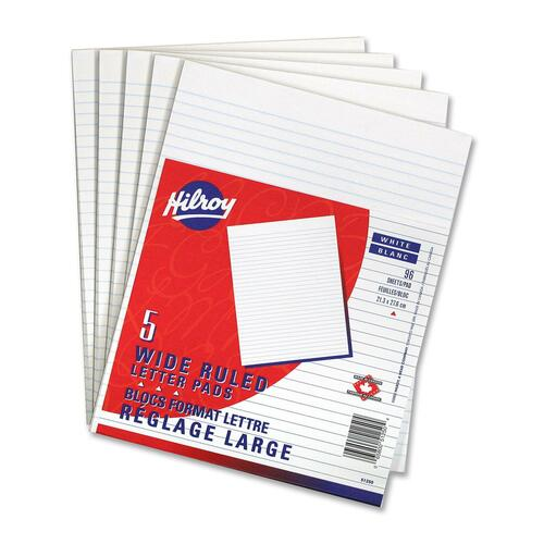 """Hilroy Figuring Pad - 96 Sheets - 0.31"""" Ruled - 8 3/8"""" x 10 7/8"""" - White Paper - 5 / Pack"""