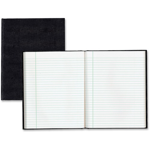 """Blueline EcoLogix Executive Notebooks - 150 Sheets - Perfect Bound - Ruled Red Margin - 7 1/4"""" x 9 1/4"""" - White Paper - Black Cover - Hard Cover, Unpunched - Recycled - 1Each"""