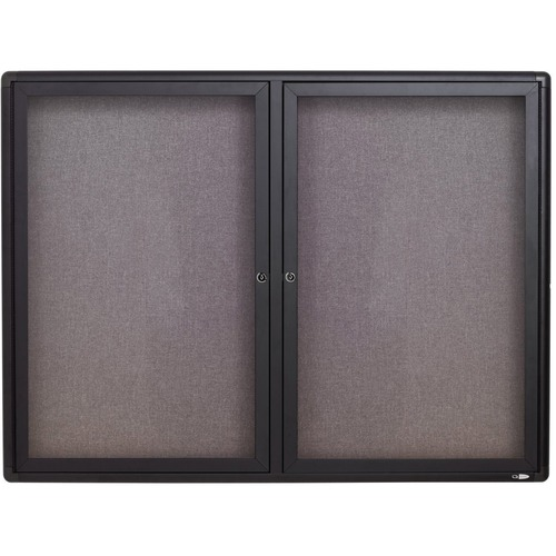 """Quartet Enclosed Fabric-Covered Bulletin Board - 36"""" (914.40 mm) Height x 48"""" (1219.20 mm) Width - Graphite Gray Fabric Surface - Shatter Resistant, Self-healing - Graphite Aluminum Frame - 1 Each"""