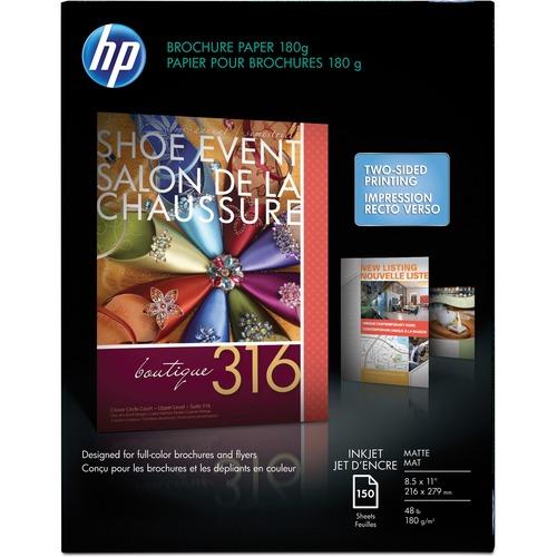 """HP Inkjet Brochure/Flyer Paper - White - 103 Brightness - Letter - 8 1/2"""" x 11"""" - 48 lb Basis Weight - Matte"""