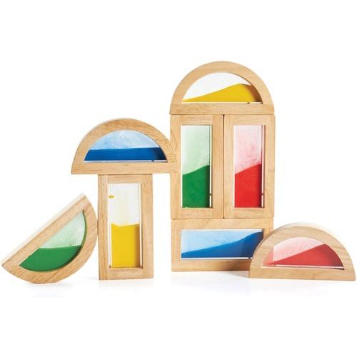 Guidecraft Rainbow Sand Blocks - Skill Learning: Eye-hand Coordination, Visual Perception, Color, Exploration, Stacking, Shape - 2 Year & Up