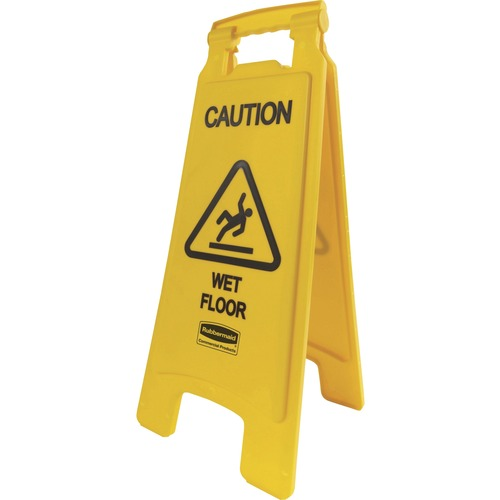 """Rubbermaid Commercial Caution Wet Floor Safety Sign - 1 Each - Caution Wet Floor Print/Message - 11"""" (279.40 mm) Width x 25"""" (635 mm) Height - Rectangular Shape - Black Print/Message Color - Lightweight, Flexible, Durable, Corrosion Proof, Fade Resistant,"""