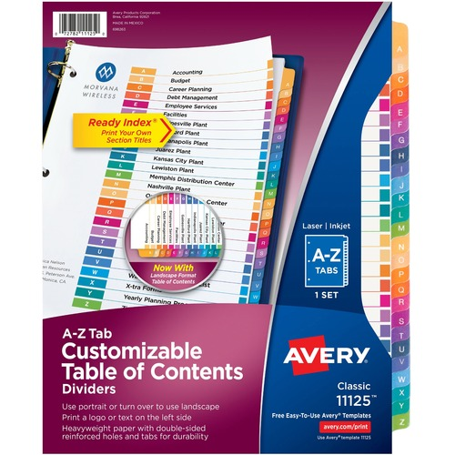 """Avery® Ready Index A-Z Table of Contents Dividers - 26 x Divider(s) - Table of Contents, A-Z - 26 Tab(s)/Set - 8.50"""" Divider Width x 11"""" Divider Length - 3 Hole Punched - White Paper Divider - Multicolor Paper Tab(s)"""