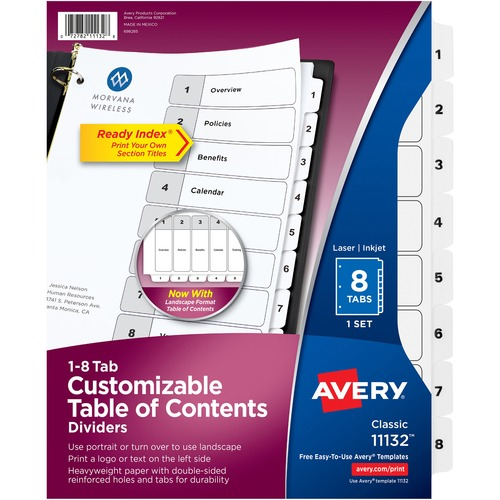 """Avery® Ready Index Classic Tab Binder Dividers - 8 x Divider(s) - 1-8, Table of Contents - 8 Tab(s)/Set - 8.50"""" Divider Width x 11"""" Divider Length - 3 Hole Punched - White Paper Divider - White Paper Tab(s)"""