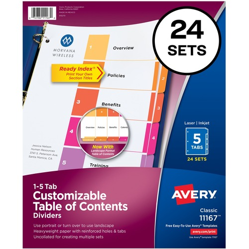 """Avery® Ready Index Customizable TOC Dividers - 120 x Divider(s) - 1-5, Table of Contents - 5 Tab(s)/Set - 8.50"""" Divider Width x 11"""" Divider Length - 3 Hole Punched - White Paper Divider - Multicolor Paper Tab(s)"""