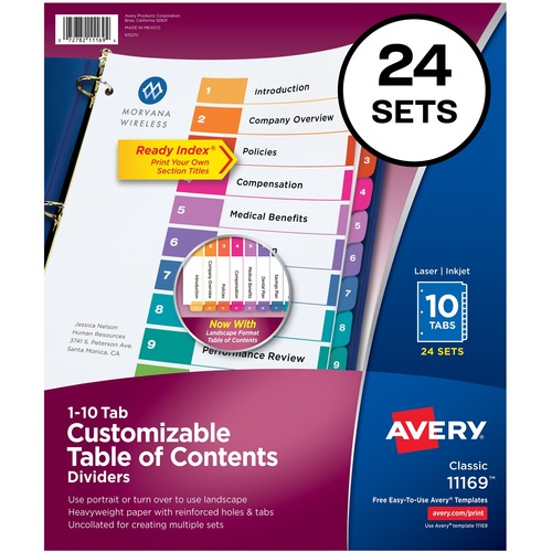 """Avery® Ready Index(R) 10-Tab Binder Dividers, Customizable Table of Contents, Multicolor Tabs, 24 Sets (11169) - 240 x Divider(s) - 1-10, Table of Contents - 10 Tab(s)/Set - 8.50"""" Divider Width x 11"""" Divider Length - 3 Hole Punched - White Paper Divid"""