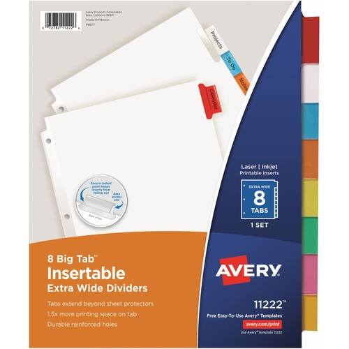 Avery Big Tab Extra Wide White Insertable Dividers Clear