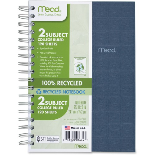 mead wirebound college-ruled notebook - 150 sheets