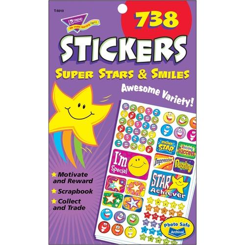 Trend Super Stars/Smiles Sticker Pad - Acid-free, Non-toxic - 1 / Pad