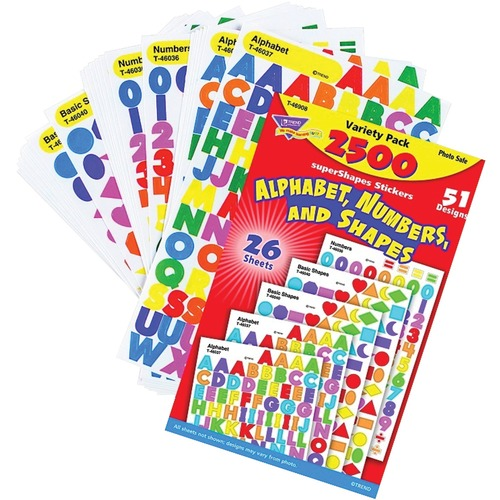 Trend Alphabet, Numbers, & Shapes - Fun Theme/Subject - Self-adhesive - Acid-free, Photo-safe, Non-toxic