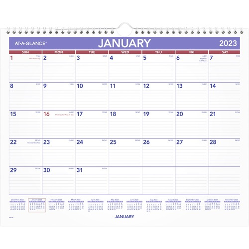 Calendar December 2020.At A Glance Monthly Wall Calendar Yes Monthly 1 Year January