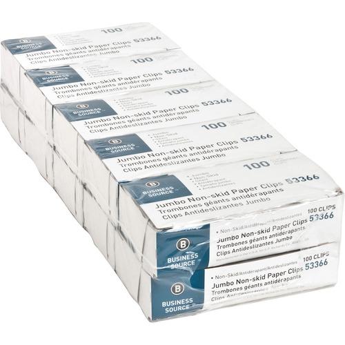 Business Source Jumbo Nonskid Paper Clips - Jumbo - 1000 / Pack - Silver - Steel
