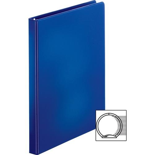 "Business Source Basic Round Ring Binders - 1/2"" Binder Capacity - Letter - 8 1/2"" x 11"" Sheet Size - Round Ring Fastener(s) - Vinyl - Dark Blue - 254 g - 1 Each"