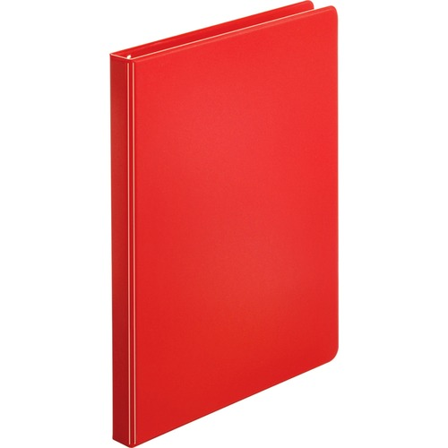 """Business Source Basic Round Ring Binders - 1/2"""" Binder Capacity - Letter - 8 1/2"""" x 11"""" Sheet Size - Round Ring Fastener(s) - Vinyl - Red - 254 g - 1 Each"""