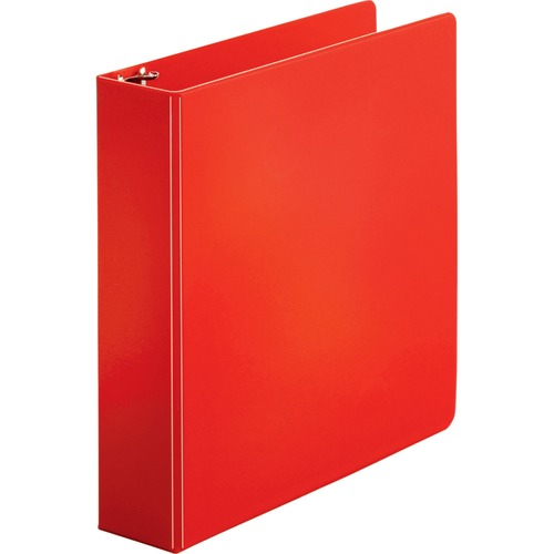 """Business Source Basic Round Ring Binders - 2"""" Binder Capacity - Letter - 8 1/2"""" x 11"""" Sheet Size - Round Ring Fastener(s) - Vinyl - Red - 689.5 g - 1 Each"""