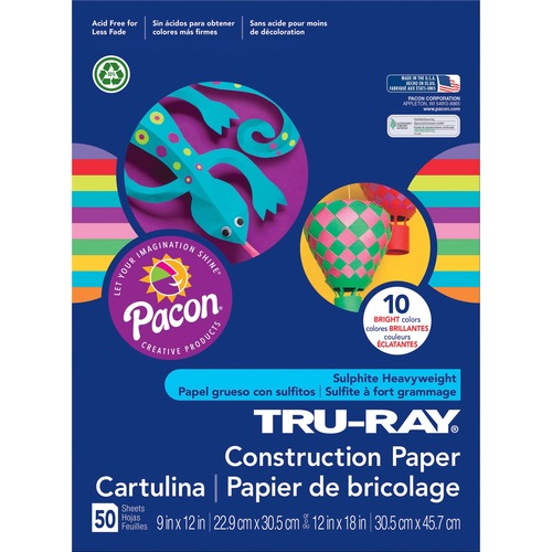 """Tru-Ray Construction Paper - ClassRoom Project - 12"""" (304.80 mm)Width x 9"""" (228.60 mm)Length - 50 / Pack - Bright Assorted - Sulphite"""