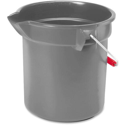 "Rubbermaid Commercial Brute 10-quart Utility Bucket - 9.46 L - Heavy Duty, Rust Resistant, Bend Resistant - 10.20"" (259.08 mm) - Plastic, Steel, High-density Polyethylene (HDPE) - Gray, Nickel, Chrome - 1 Each"