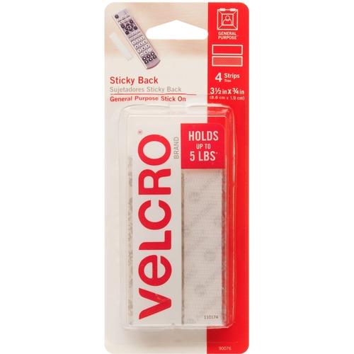 "VELCRO Sticky Tape - 3.50"" (88.9 mm) Length x 0.75"" (19.1 mm) Width - 4 Set - White"