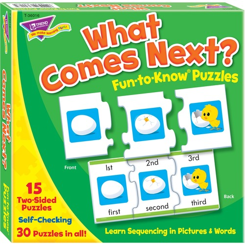 Trend What Comes Next Fun-to-know Puzzles - Theme/Subject: Fun, Learning - Skill Learning: Number, Sequencing, Word - 4 Year & Up - 45 Pieces