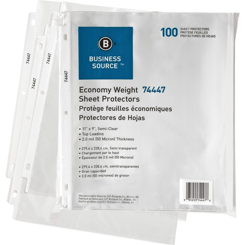 """Business Source Economy Weight Sheet Protectors - 11"""" Height x 9"""" Width - 0"""" Thickness - For Letter 8 1/2"""" x 11"""" Sheet - Ring Binder - Rectangular - Semi Clear - Polypropylene - 100 / Pack"""