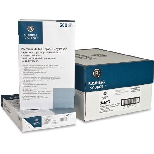 "Business Source Premium Multipurpose Copy Paper - Legal - 8 1/2"" x 14"" - 20 lb Basis Weight - 5000 / Carton - White"