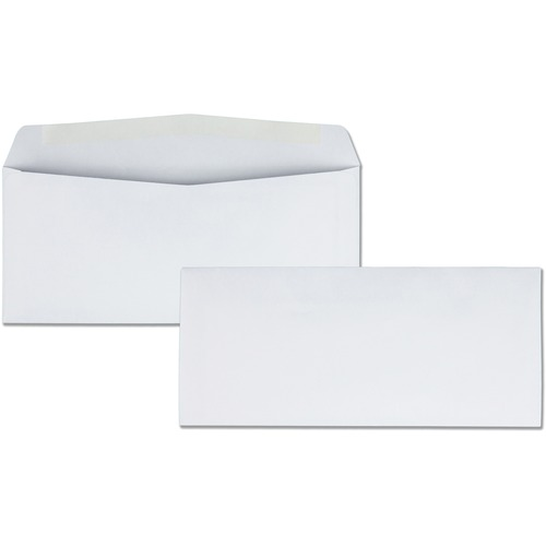 "Business Source No. 10 White Business Envelopes - Commercial - #10 - 9 1/2"" Width x 4 1/8"" Length - 24 lb - Gummed - Wove - 500 / Box - White"