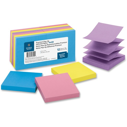 """Business Source Reposition Pop-up Adhesive Notes - 3"""" x 3"""" - Square - Assorted - Removable, Repositionable, Solvent-free Adhesive - 12 / Pack"""