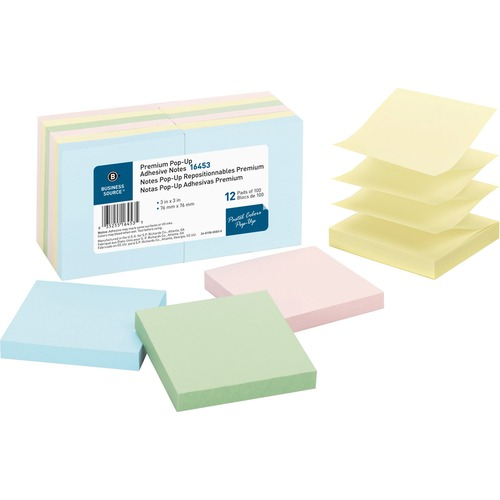"""Business Source Reposition Pop-up Adhesive Notes - 3"""" x 3"""" - Square - Assorted Pastel - Removable, Repositionable, Solvent-free Adhesive - 12 / Pack"""