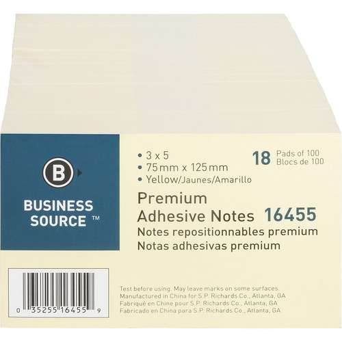 """Business Source Repositionable Notes - 3"""" x 5"""" - Rectangle - Yellow - Repositionable, Solvent-free Adhesive - 18 / Pack"""