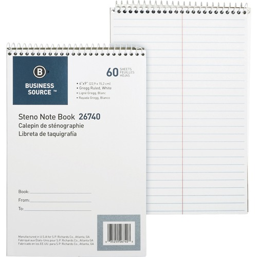"""Business Source Steno Notebook - 60 Sheets - Wire Bound - Gregg Ruled - 15 lb Basis Weight - 6"""" x 9"""" - White Paper - Stiff-back - 1Each"""