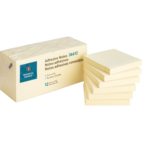 """Business Source Yellow Repositionable Adhesive Notes - 3"""" x 3"""" - Square - Yellow - Repositionable, Solvent-free Adhesive - 12 / Pack"""