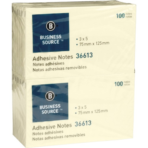 """Business Source Yellow Repositionable Adhesive Notes - 3"""" x 5"""" - Rectangle - Yellow - Repositionable, Solvent-free Adhesive - 12 / Pack"""
