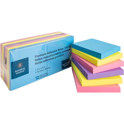 """Business Source 3x3 Extreme Colors Adhesive Notes - 100 - 3"""" x 3"""" - Square - Assorted - Repositionable, Solvent-free Adhesive - 12 / Pack"""