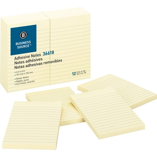 """Business Source Ruled Adhesive Notes - 4"""" x 6"""" - Rectangle - Ruled - Yellow - Solvent-free Adhesive, Self-adhesive - 12 / Pack"""