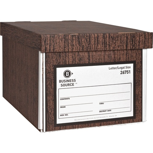 """Business Source Economy Medium-duty Storage Boxes - External Dimensions: 10"""" Width x 12"""" Depth x 15""""Height - Media Size Supported: Legal, Letter - Lif"""