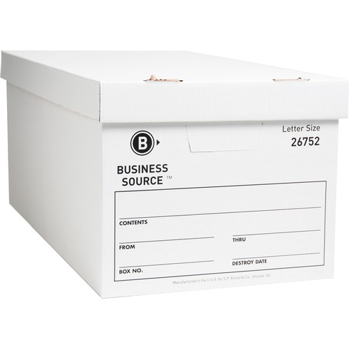 """Business Source Lift-off Lid Light Duty Storage Box - External Dimensions: 12"""" Width x 24"""" Depth x 10""""Height - Media Size Supported: Letter - Lift-off"""
