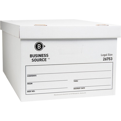"""Business Source Lift-off Lid Light Duty Storage Box - External Dimensions: 15"""" Width x 24"""" Depth x 10""""Height - Media Size Supported: Legal - Lift-off"""