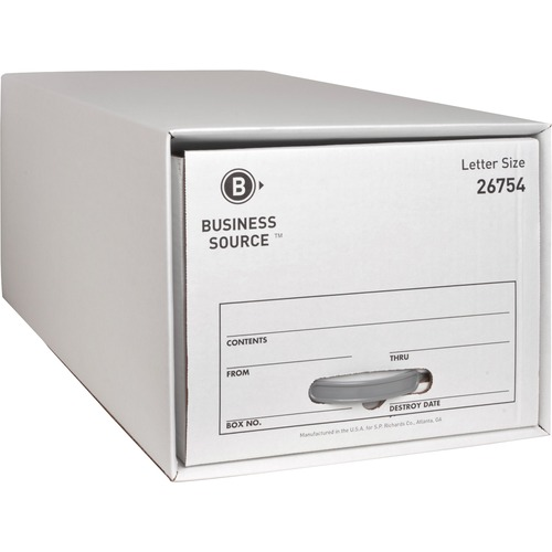 """Business Source Drawer Storage Boxes - External Dimensions: 12.5"""" Width x 23.3"""" Depth x 10.3""""Height - Media Size Supported: Letter - Light Duty - Stac"""