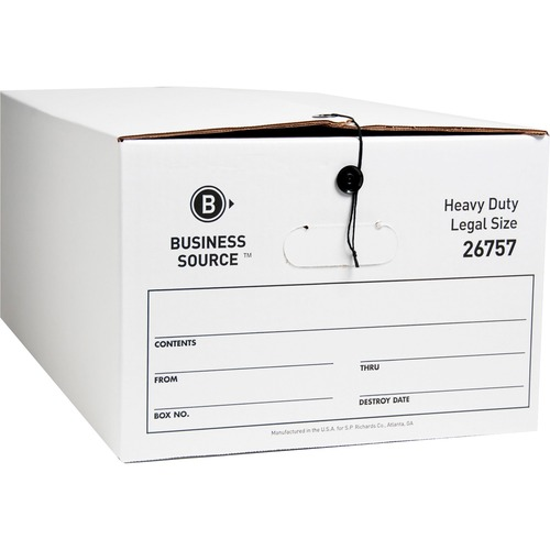 "Business Source Heavy Duty Legal Size Storage Box - External Dimensions: 15"" Width x 24"" Depth x 10""Height - Media Size Supported: Legal - String/Butt"