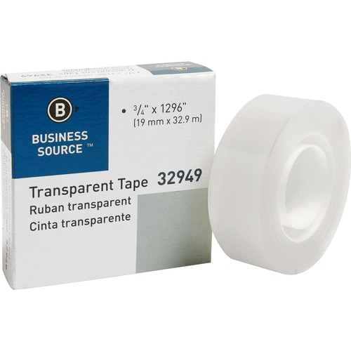 """Business Source All-purpose Transparent Tape - 36 yd (32.9 m) Length x 0.75"""" (19.1 mm) Width - 1"""" Core - 1 / Roll - Clear"""