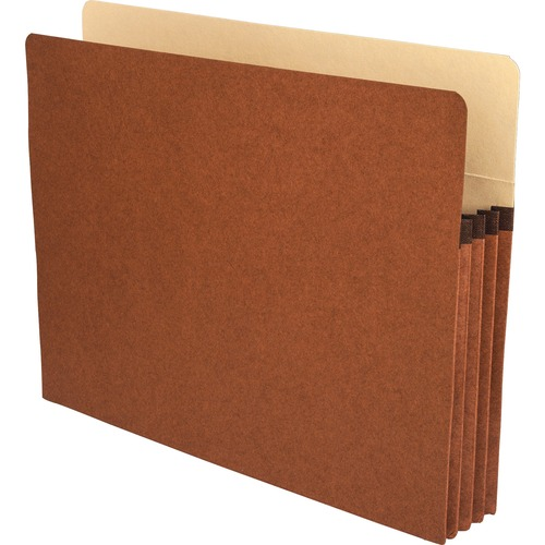 """Business Source Redrope Letter Expanding File Pockets - Letter - 8 1/2"""" x 11"""" Sheet Size - 3 1/2"""" Expansion - Straight Tab Cut - Redrope - Redrope - R"""