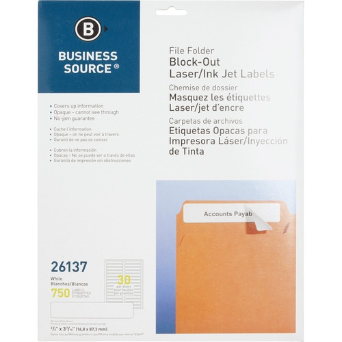 "Business Source Block-out File Folder Labels - 3 7/16"" Length - Permanent Adhesive - Laser, Inkjet - White - 30 / Sheet - 750 / Pack"