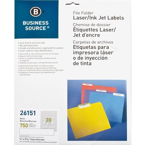 "Business Source Laser/Inkjet Permanent File Folder Labels - 43/64"" x 3 7/16"" Length - Permanent Adhesive - Rectangle - Laser, Inkjet - White - 30 / Sheet - 750 / Pack"