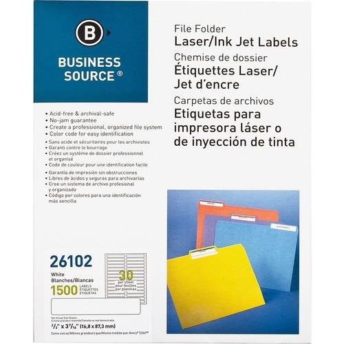"Business Source Laser/Inkjet File Folder Labels - 21/32"" Width x 3 7/16"" Length - Permanent Adhesive - Rectangle - Laser, Inkjet - White - Paper - 30 / Sheet - 1500 / Pack"