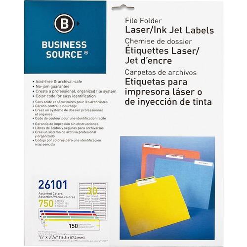 """Business Source Laser/Inkjet File Folder Labels - 21/32"""" x 3 7/16"""" Length - Permanent Adhesive - Rectangle - Laser, Inkjet - Assorted - 30 / Sheet - 750 / Pack"""