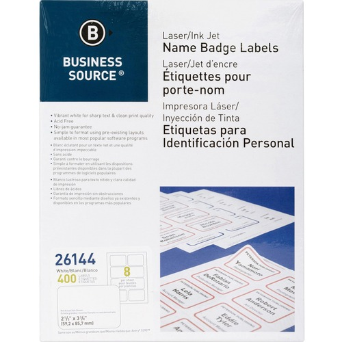 "Business Source Laser/Inkjet Name Badge Labels - 2 1/3"" x 3 3/8"" Length - Rectangle - Laser, Inkjet - White - 8 / Sheet - 400 / Pack"