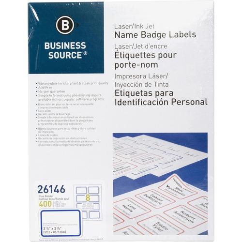 """Business Source Laser/Inkjet Name Badge Labels - 2 1/3"""" x 3 3/8"""" Length - Rectangle - Laser, Inkjet - Blue - 8 / Sheet - 400 / Pack"""
